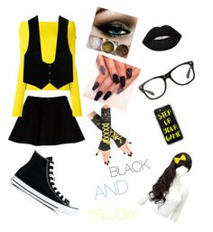 """""""BLACK AND YELLOW!"""" by muffin-master101 ❤ liked on Polyvore featuring Max&Co., Jacquemus, Yves Saint Laurent, Converse, Lime Crime and Casetify"""