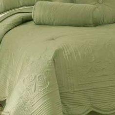Hotel Solid Sage Green Matelasse Quilt Standard Pillow