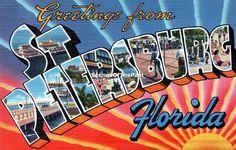 St Petersburg Florida Large Letter vintage greetings - scenesofthepast on etsy