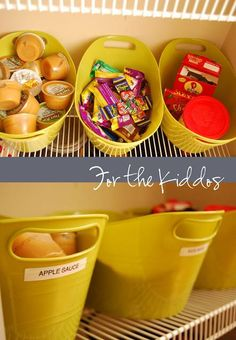 Organization ideas - School lunch packing create snack buckets for the kids to select a snack.