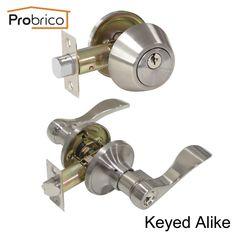 Probrico Lever Stainless Steel Keyed Alike Entrance Door Lock W/ Deadbolt Satin Nickel Door Handle Knob Dl12061Et-101Sn