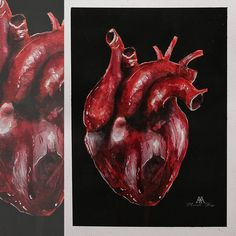 heart from the seriess of anatomical paintings ©MWeissArt 2018 watercolors & acrylic 18 x 24 cm paper available im my s. from the seriess of anatomical p Traditional Art, Deviantart, Heart, Painting, Painting Art, Paintings, Painted Canvas, Hearts, Drawings