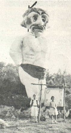 Photo of the day! Zozobra did not always wear a dress. Check out this photograph from the late 20s