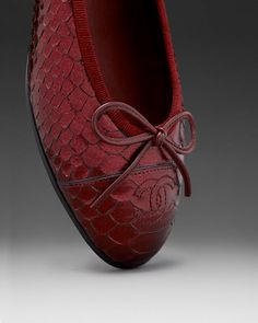 Chanel red python classic ballerina