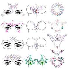 Duufin 12 Sets Rave Jewels Face Body Jewel Stickers Belly Crystal Tears Gems Temporary Tattoo for Festival Party ** Click image for more details. (As an Amazon Associate I earn from qualifying purchases) Festival Face Gems, Crystal Tattoo, Face Jewels, Face Stickers, Body Glitter, Body Makeup, Festival Party, Temporary Tattoos, Face And Body