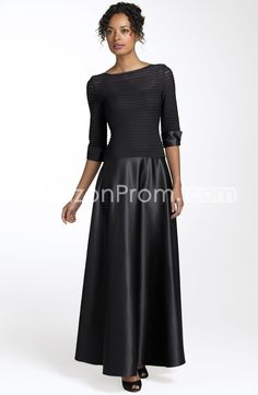 Charming Bateau 3/4-length Sleeves Ankle-Length Mother of the Bride Dress - champagne color or slate grey... and hemline cut right below knee??  possible