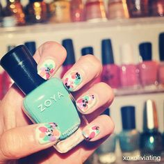 Floral #nailart featuring #zoya #nailpolish via Instagram - Photo by lacqueredwithlove