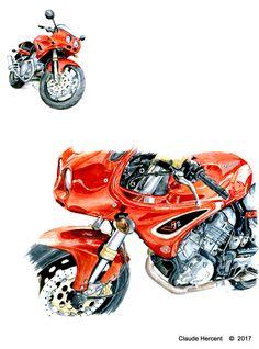 """Planche portant sur les motos """"Voxan. (Détail) http://aquarelle-akwarel.over-blog.com/2017/04/moto-voxan-cafe-racer.htmlhttp://aquarelle-akwarel.over-blog.com/2017/04/moto-voxan-cafe-racer.html"""