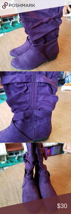 Purple suede boots Like new, only worn twice. Size is 12ww. Wide calf Avenue Shoes Winter & Rain Boots
