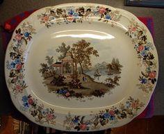Very Large Platter 'Imperial Colour'd Landscape' by Joseph Clementson 1839-64