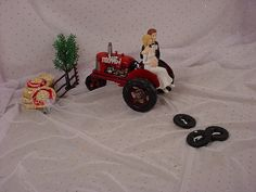 Red Tractor Farm Country Bride Groom wedding by myweddingtoppers, $69.99