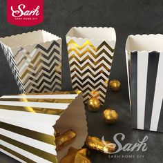 12pcs Gold Silver Shining Stripe Wave Popcorn Box  Fold Adhesive Paper Gift Cake Boxes Baking Decoration Package #Affiliate