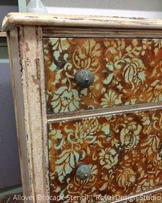 Our Allover Brocade Furniture Stencil is perfect for a floral design on a dresser, table, or cabinet. This romantic flower stencil includes a free filler stenci