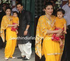 Soha Ali Khan and baby Inaaya twinning in yellow at Ganesh Chaturthi celebrations