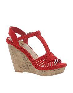 New Look Fudge Crochet Red Wedge Sandals