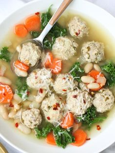 Skinny Slow Cooker Kale and Turkey Meatball Soup -- a healthy version of Italian Wedding Soup! {clean eating}