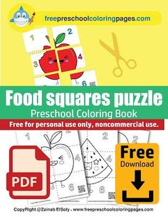 cute food square puzzle- learn to count 1 Preschool Puzzles, Preschool Books, Free Preschool, Preschool Printables, Preschool Learning, Book Activities, Coloring Pages To Print, Coloring Books, Free Coloring