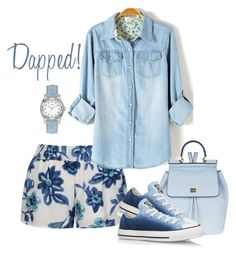 """""""Floral Denim"""" by dashe-diva ❤ liked on Polyvore featuring Ally Fashion, Dolce&Gabbana, Converse, GUESS, floral, denim, Blue, floralprint and denimskirt"""