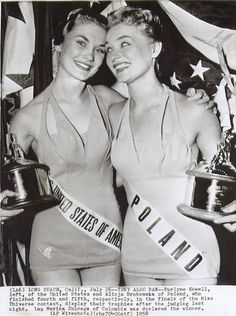 Miss United States of America and Miss Poland, contestants in the 1958 Miss Universe pageant