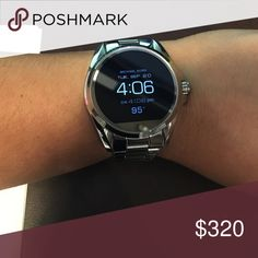 Michael Kors smartwatch Beautiful silver Michael Kors smartwatch just came out two weeks ago I bought it Friday I love it but is not all that compatible with IPHONE I can't return it because I had it sized but I have the extra links to it I payed $350 + tax Michael Kors Jewelry