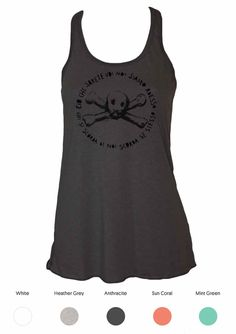 Skull and crossbone ladies tank top, Milano Washington area.  Organic cotton, hand printed silkscreen print with water based ink.