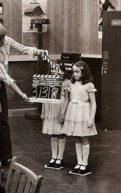 On the set of Shining- who would have thought these little girls could summon a river of blood...