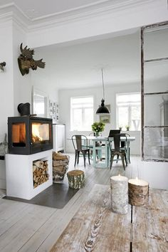 industrial and raw living room with white washed floor