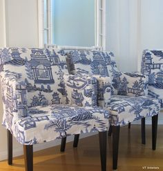 idea for chairs terry gave me:  stain legs and reupholster in cool fabric--not this....