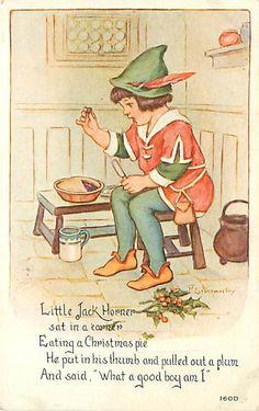 """Little Jack Horner"" Artist - Millicent Sowerby - A Mother Goose Nursery Rhyme Nursery Rhymes Lyrics, Old Nursery Rhymes, Rhymes For Kids, Children Rhymes, Pomes, Kids Poems, Rhymes Songs, Vintage Nursery, Mother Goose"