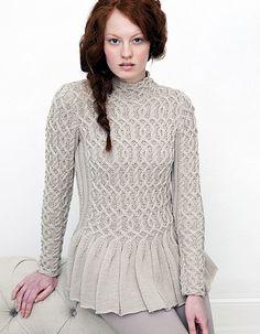 peplum cabled sweater knitting pattern 2