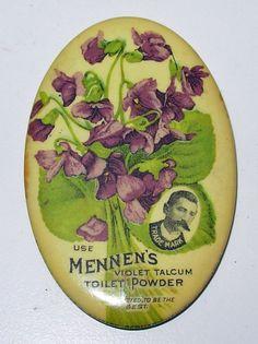 Vintage Mennen's Violet Talcum Toilet Powder Advertising Pocket Mirror