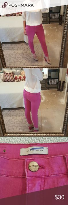 """Urban Outfitters High Waist Jeans I am selling a preppy and eye catching pair of pink ankle jeans.  This particular pair is Les FOLLES de joie (Urban Outfitters), size 29 with a 27.5"""" inseam and 10.5"""" rise.  Excellent condition and very fun to wear!!! Urban Outfitters Jeans Ankle & Cropped"""