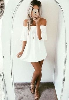Summer Women Sleeveless Dress Casual Party Off Shoulder Dress Evening Short Mini Dress casual summer outfit, for curvy g Casual Party Dresses, Casual Summer Dresses, Dress Casual, Professional Summer Outfits, Short Mini Dress, Going Out Dresses, Classy Outfits, Beautiful Outfits, Trendy Outfits