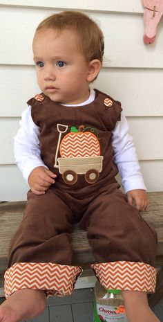 Boys Infant or Toddler Fall Brown Corduroy Longall Jon Jon Overall with Pumpkin in Wagon Applique Orange & Off White Chevron Cuff on Etsy, $42.00