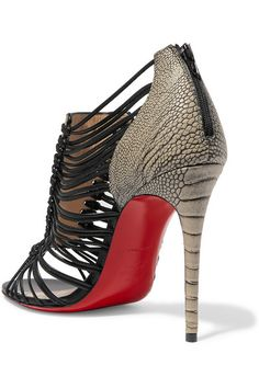 CHRISTIAN LOUBOUTIN Amal 100 Ostrich And Leather Sandals ...
