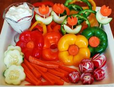 flower vegetable tray - great for Hawaiin themed party!