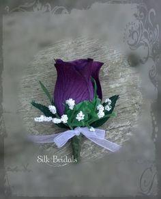 Purple plum Boutonniere rose Groom groomsman bridal by SilkBridals, $3.25