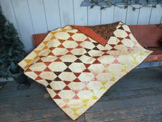 Smoky Mountain Star Quilt, Warm Earth Tone Quilt, Orange Yellow Black Quilt, Quilted Throw by QuiltedPleasures on Etsy