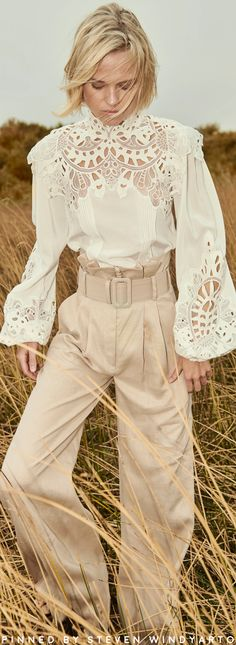 Costarellos Spring 2020 Lookbook - Linen High-Neck Blouse With Antique Broderie Anglaise Lace  #spring2020 #ss20 #womenswear #christoscostarellos