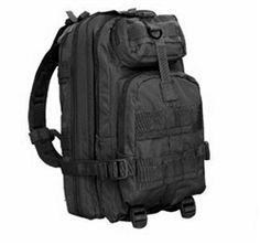 "Condor Small Assault Pack - Black  -Total of four compartments  -Main compartment: 18"" x 10"" x 5"" with one zipper and one mesh pocket  -2nd compartment 15"" x 8"" x 2""  -Front top compartment: 4"" x 7"" x 2.5""     -Front bottom compartment: 10"" x 8"" x 2.5""  -Hydration compatible"