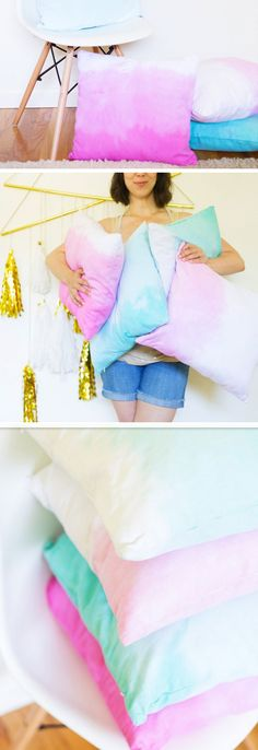 Ombre Throw Pillows | DIY Dorm Room Ideas for Girls