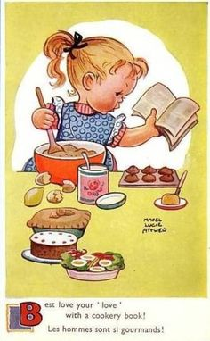 Mabel Lucie Attwell vintage postcard by marla Vintage Cookbooks, Vintage Children's Books, Vintage Greeting Cards, Vintage Postcards, Vintage Pictures, Vintage Images, Book Illustration, Illustrations, Vintage Cooking