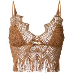 Ermanno Scervino crochet bikini top (2120 MAD) ❤ liked on Polyvore featuring swimwear, bikinis, bikini tops, brown, macrame swimwear, swimsuit tops, brown bikini, crochet swimwear and swim suit tops