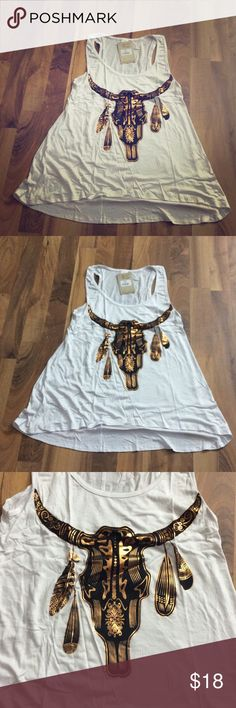 Selling this White and Gold Foil Longhorn Foil tank top shirt on Poshmark! My username is: neatandniceshop. #shopmycloset #poshmark #fashion #shopping #style #forsale #liberty #Tops #longhorn #cowgirl
