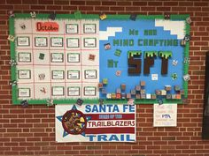 Minecraft themed bulletin board.