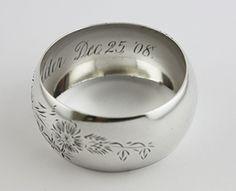 Sterling Silver NAPKIN RING FLORAL, MONOGRAMMED inside  Dec. 25, '08