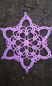 "Not a KC fan, but pretty snowflake. ""In memory of Kurt Cobain"" Make magic ring. Round Ch 11 dc in ring. End with sl st in ch of the first ch Pull magic ring tight. Round *Ch skip 1 dc, sl st in next*. Repeat from * . Crochet Snowflake Pattern, Christmas Crochet Patterns, Holiday Crochet, Crochet Snowflakes, Doily Patterns, Crochet Motif, Christmas Snowflakes, Crochet Doilies, Christmas Bells"