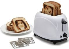 The Selfie Toaster - This is the appliance that indelibly brands its owner's image onto a slice of bread. Only available from Hammacher Schlemmer, the toaster uses custom heating inserts crafted from a submitted headshot photograph. Gadgets And Gizmos, Cool Gadgets, Amazing Gadgets, Healthy Foods To Eat, Healthy Snacks, Hammacher Schlemmer, Piece Of Bread, Dog Snacks, Kitchen Gadgets