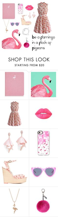 """Flamingo!"" by hermione-2003 ❤ liked on Polyvore featuring Chicwish, Lime Crime, Oscar de la Renta Pink Label, Casetify, Sophia Webster, MINKPINK, Sydney Evan, Helen Moore, Pink and girly"