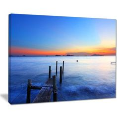"""DesignArt 'Summer Sea with Wooden Pier' Photographic Print on Wrapped Canvas Size: 30"""" H x 40"""" W x 1"""" D"""